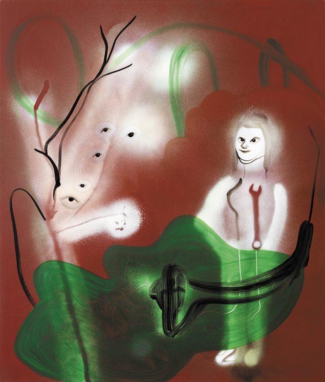 Kathrine Ærtebjerg, Værktøjet IV, 2017, Acrylic, spray paint and oil on canvas, 90 x 70 cm. Pressefoto.